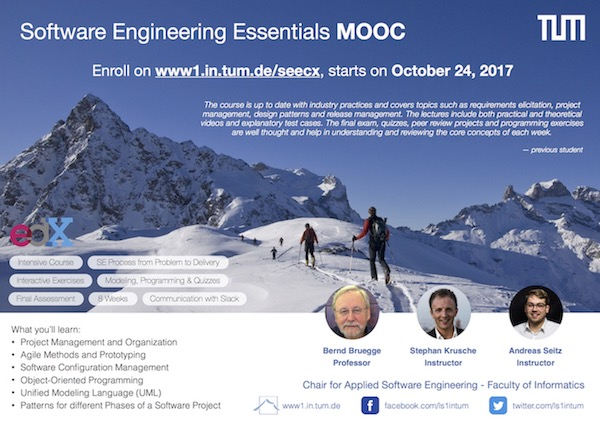 Join our Software Engineering Essentials MOOC - Starting October 24, 2017