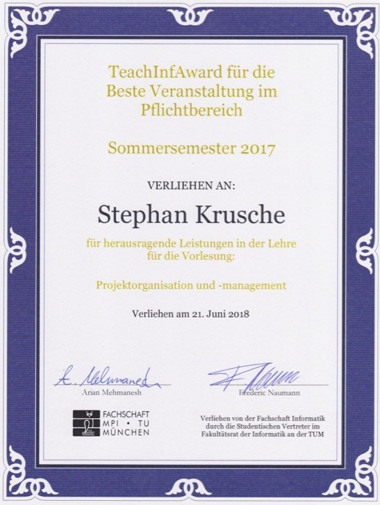 Teaching Award for Best Education in Summer 2017