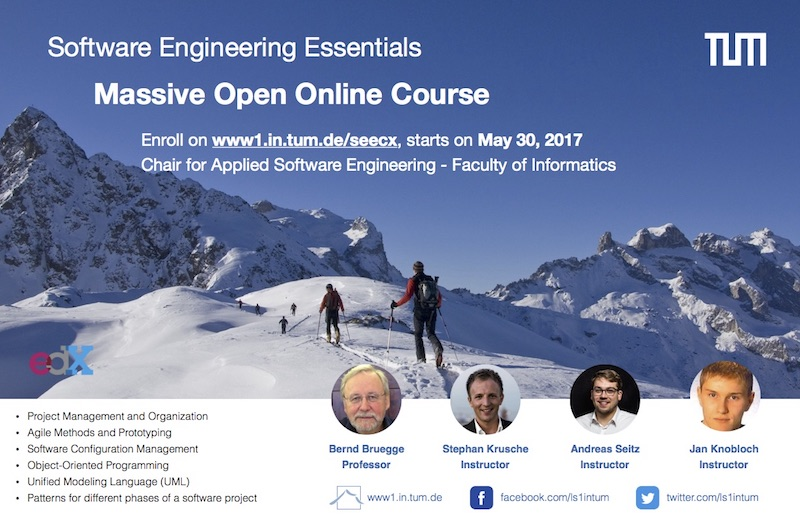 Join our Software Engineering Essentials MOOC - Starting May 30, 2017